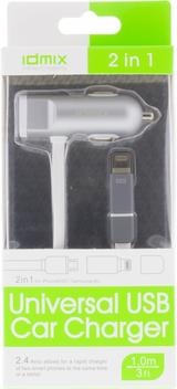 Idmix Billaddare med lightning & Micro-B kontakt, 2,4A, 1m
