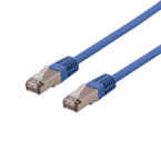 Deltaco U/FTP Cat6a patchkabel, LSZH, 0,5m, blå