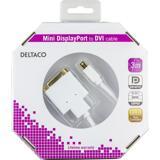 Deltaco mini DisplayPort till DVI-D Single Link monitorkabel, 3m, vit