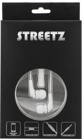 STREETZ in-ear hörlurar med mikrofon, svarsknapp, trasselfri, 1,2m kabel, vit