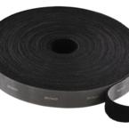 Deltaco kardborrband på rulle, bredd 20mm, 15m, svart