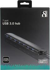 Deltaco USB 3.0 hubb med 7 portar, aluminium, 0,3m, nätadapter medföljer, svart