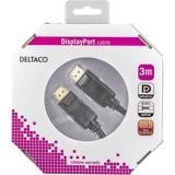 Deltaco DisplayPort monitorkabel, 3m, svart