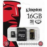 Kingston minneskort, microSDHC, 16GB, Class 10, usb-reader