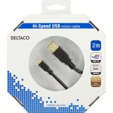 Deltaco USB-kabel, 2m, Micro  – Standard, svart