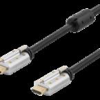 Deltaco HDMI-kabel, låsbar, 3m, 4K, 3D, svart