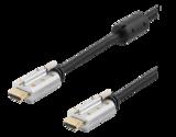 Deltaco HDMI-kabel, låsbar, 1m, 4K, 3D, svart