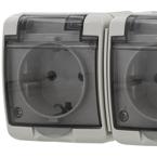 EPZI 2-vägsuttag med klafflock för utanpåliggande montering, IP54, grå