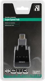 Deltaco USB 3.0 hubb, 4 portar, svart