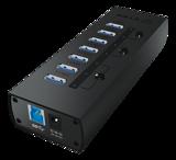 ICY BOX IB-AC6702, 7-ports USB 3.0 Hubb, 2,4A, LED-display, aluminium, svart