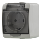 EPZI 1-vägsuttag med klafflock för utanpåliggande montering, IP54, grå
