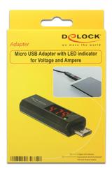 DeLOCK Micro USB-adapter med LED-indikator för volt och ampere, 4A max, svart