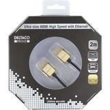 Deltaco Prime HDMI-kabel, 2m, 4K, 3D, ultratunn, svart/guld