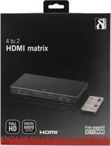 Deltaco manuell HDMI-matrix, 4 ingångar till 2 utgångar, fjärrkontroll, 1080p, IR, HDCP, 19-pin ho, 3,5mm ho stereo, coax, spdif, svart