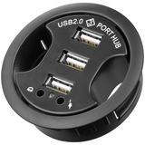 Goobay Infälld 3-ports USB 2.0 hubb