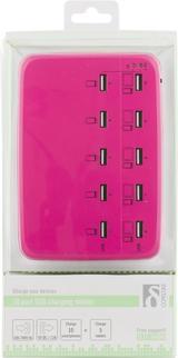 Deltaco USB-laddningsstation, 100-240V till 5V USB, 12A, 10xUSB-portar, rosa
