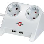 Brennenstuhl desktop grenuttag med 2x USB 2.0 port, 2100mA 2 -vägs uttag, vit, 1.8m