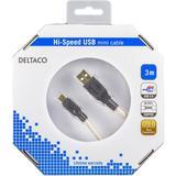 Deltaco USB-kabel, 3m, Mini – Standard, guldpläterade kontakter, beige/svart