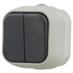 EPZI Strömställare med två knappar, för utanpåliggande montering, IP54, kron, grå