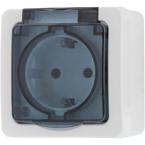 EPZI 1-vägsuttag med klafflock för utanpåliggande montering, IP54, vit