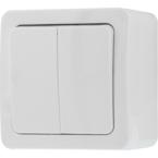 EPZI Strömställare med två knappar, för utanpåliggande montering, IP54, kron, vit