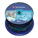 Verbatim CD-R 52x, Wide Inkjet Printable, 50-pack