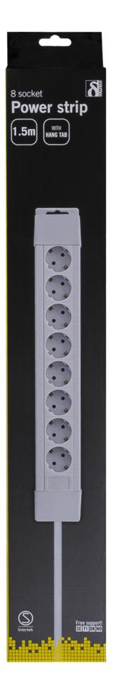 Deltaco Grenuttag med 8 uttag, 1,5m kabel, vit