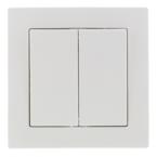 EPZI Strömställare med två knappar, för infälld montering, kron, vit