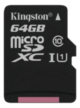 Kingston minneskort, UHS-I microSDXC, Class 10, 64GB