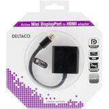Deltaco Mini DisplayPort till HDMI-adapter med ljud, 20-pin ha - 19-pin ho, guldpläterad, 4K, 0,2m, svart