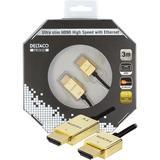 Deltaco Prime HDMI-kabel, 3m, 4K, 3D, ultratunn, svart/guld