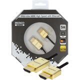 Deltaco Prime HDMI-kabel, 5m, 4K, 3D, ultratunn, svart/guld