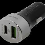 Deltaco billaddare med USB-C och Quick Charge 3.0, 6A, 1xUSB-C ho, 1xUSB Typ A ho, 12-18V DC input, svart/silver