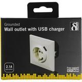 Deltaco vägguttag med separat USB-port, för infälld montering