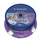Verbatim DVD+R 8x, Double Layer Inkjet printable, 25 pack