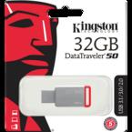 Kingston DataTraveler 50, USB 3.1 Gen 1-minne, 32GB, silver/röd