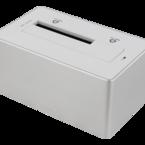 """Deltaco Dockningsstation för 1x2,5""""/3,5"""" SATA-hårddisk, SATA 6GB/s, USB 3.1 Gen 1, aluminium, silver"""