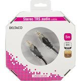 Deltaco Ljudkabel, 3,5mm ha - ha, guldpläterad, 5m
