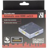Deltaco HDMI mini switcher, automatisk HDMI-switch, tre ingångar till en utgång