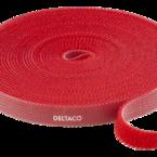 Deltaco Kardborrband, 5m, 9mm, Röd