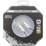 Deltaco Prime High End, optisk kabel för digitalt ljud, Toslink-Toslink, 3m