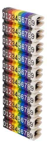 Deltaco Kabelmärkning, 10 numrerade märkningar i olika färger, max 6,0mm i diameter