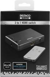 Deltaco Prime HDMI-Switch, 3 ingångar till 1 utgång, svart