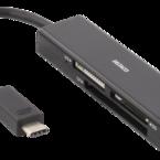 Deltaco USB 3.1 Gen 1 minneskortläsare, 4 fack, USB-C, stödjer SD, Micro-SD, CF, TF och MemoryStick, svart