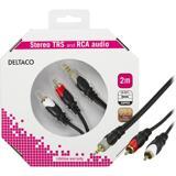 Deltaco Ljudkabel, 3,5mm ha - 2xRCA ha guldpläterade kontakter, 2m