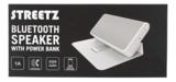 STREETZ Bluetooth högtalare med inbyggd power bank, v2.1+EDR, 5200mAh, 20h speltid, 10m, vit