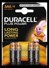 Duracell Plus Power alkaliskt batteri, AAA (LR03), 1,5V, 4-pack