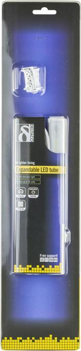 Deltaco utbyggbart LED-lysrör med strömbrytare, 49 LED, 230V AC, 4W, 250Lm, kallvitt ljus