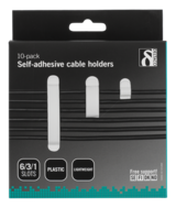 Deltaco självhäftande kabelklämmor i plast, 1/3/6 platser, 10-pack, vit