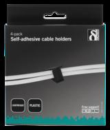 Deltaco självhäftande kabelklämma i plast, innermått 25x12x28mm, 6-pack, svart